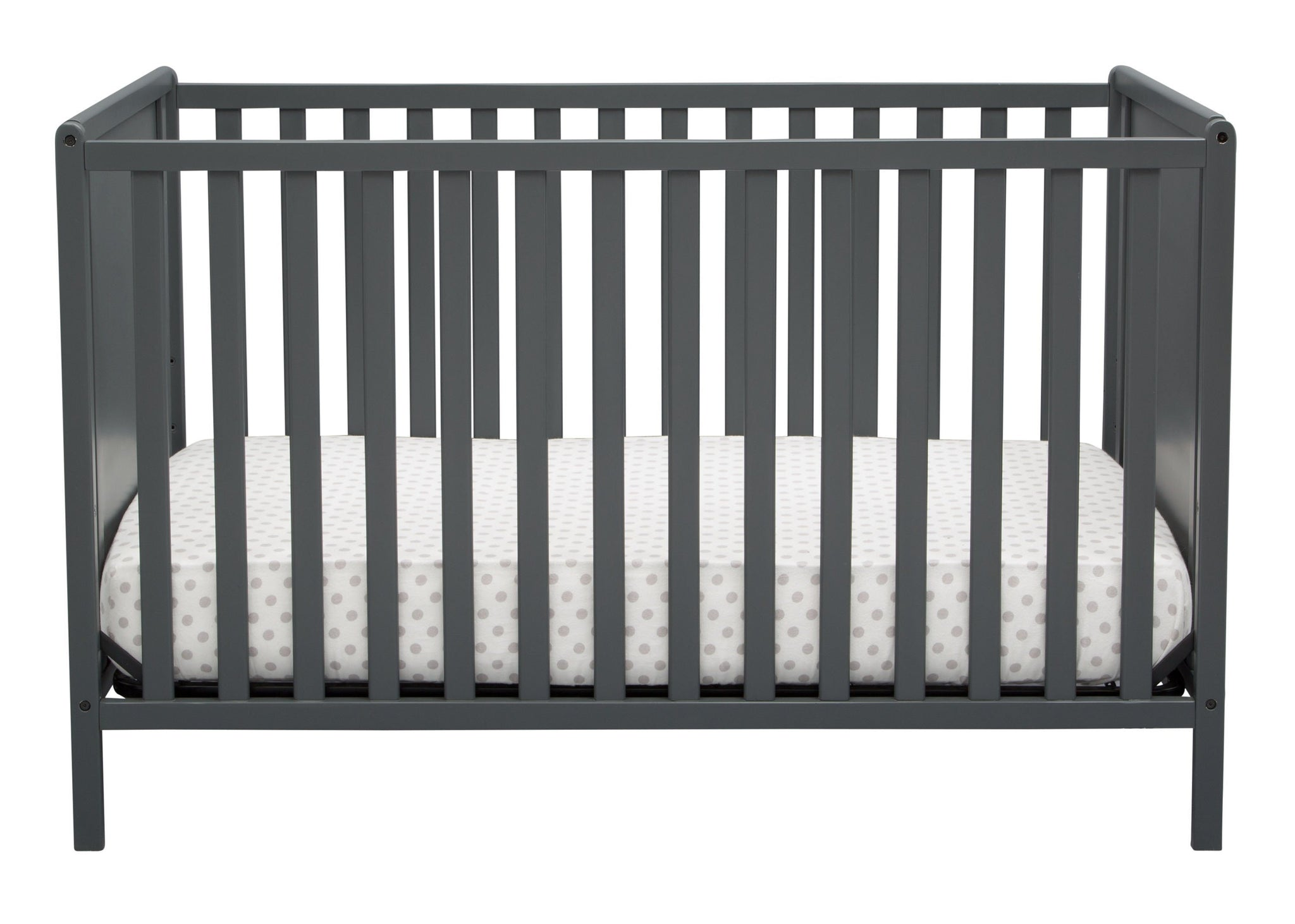 Delta Children Charcoal Grey (029) Heartland Classic 4-in-1 Convertible Crib, Crib Front, b2b