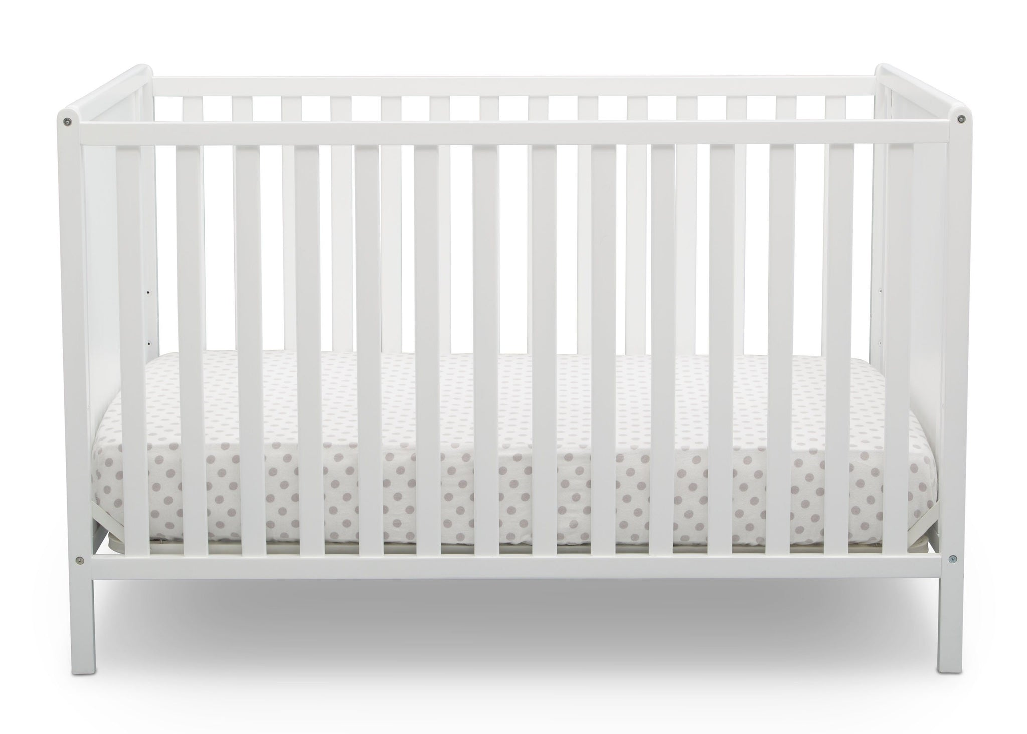 Delta Children Bianca White (130) Heartland Classic 4-in-1 Convertible Crib, Crib Front, c2c
