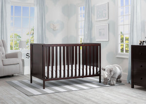 Delta Children Dark Chocolate (207) Heartland Classic 4-in-1 Convertible Crib, Room, d1d