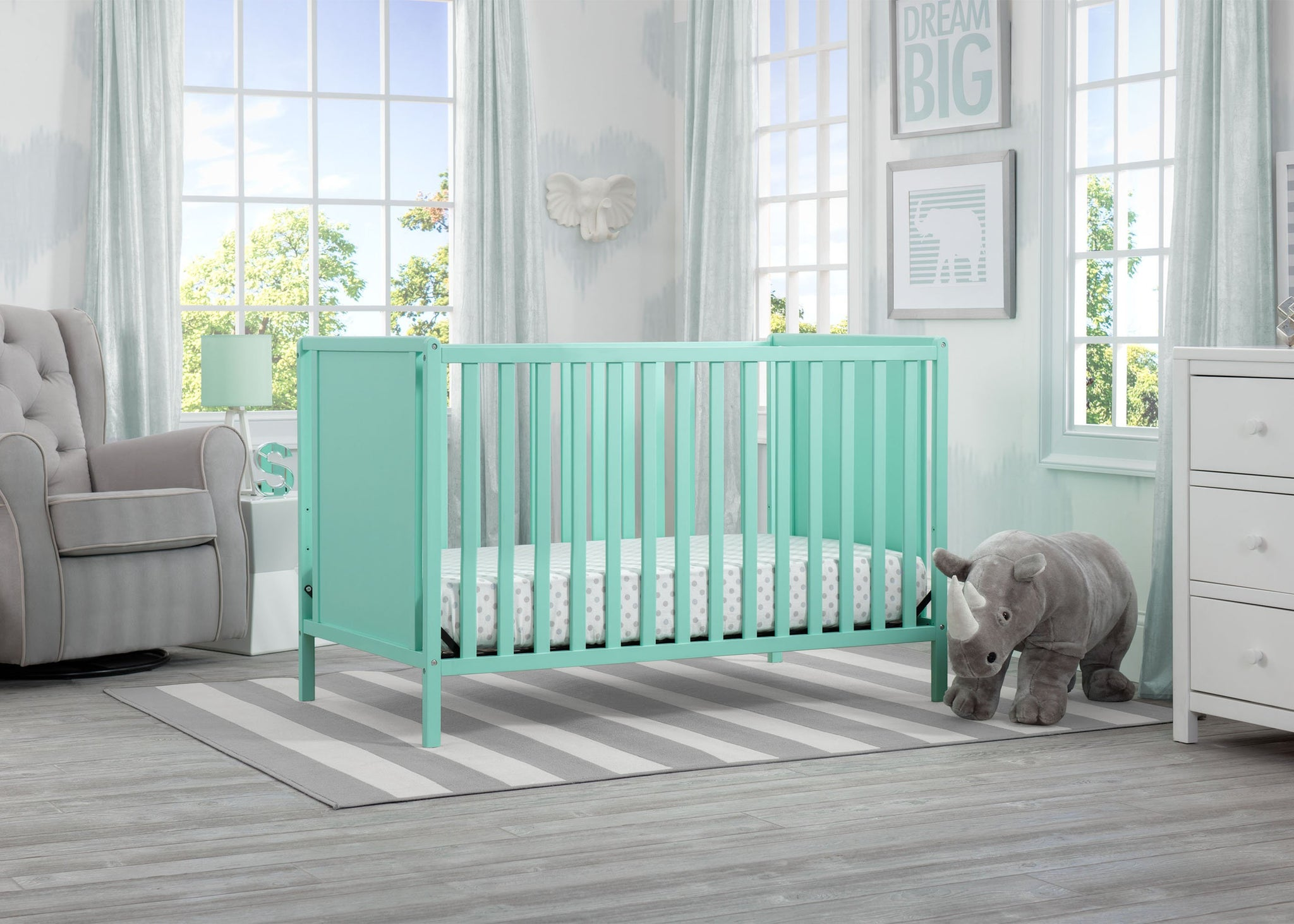 Delta Children Aqua (347) Heartland Classic 4-in-1 Convertible Crib, Room, e1e
