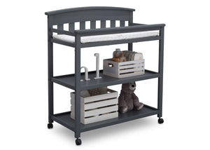 Delta Children Charcoal Grey (029) Bennington Elite Changing Table (556010), Right Angle with Props, a4a