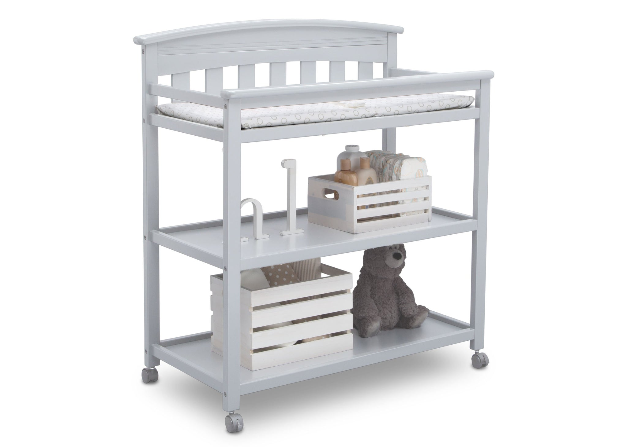 Delta Children Bianca (130) Bennington Elite Changing Table (556010), Right Angle with Props, b4b