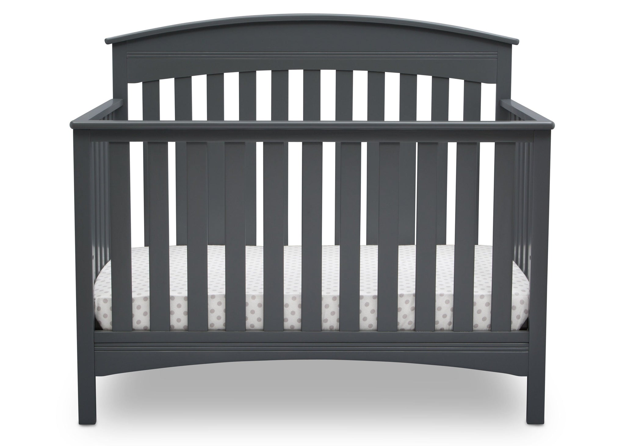 Delta Children Charcoal Grey (029) Bennington Elite Arched 4-in-1 Convertible Crib, Crib Front, a2a
