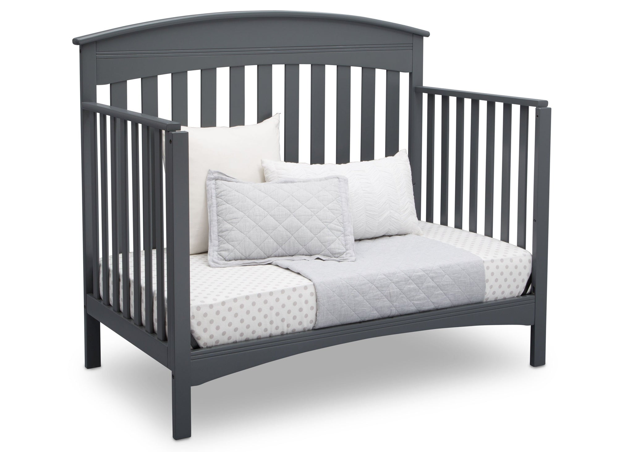 Delta Children Charcoal Grey (029) Bennington Elite Arched 4-in-1 Convertible Crib, Day Bed Angle, a5a