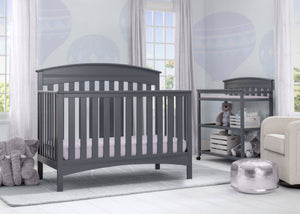 Delta Children Charcoal Grey (029) Bennington Elite Arched 4-in-1 Convertible Crib, Room, a1a