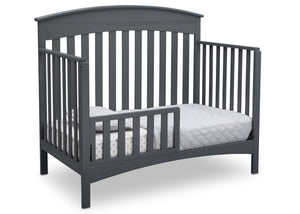 Delta Children Charcoal Grey (029) Bennington Elite Arched 4-in-1 Convertible Crib, Toddler Bed Angle, a4a