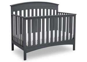 Delta Children Charcoal Grey (029) Bennington Elite Arched 4-in-1 Convertible Crib, Crib Angle, a3a