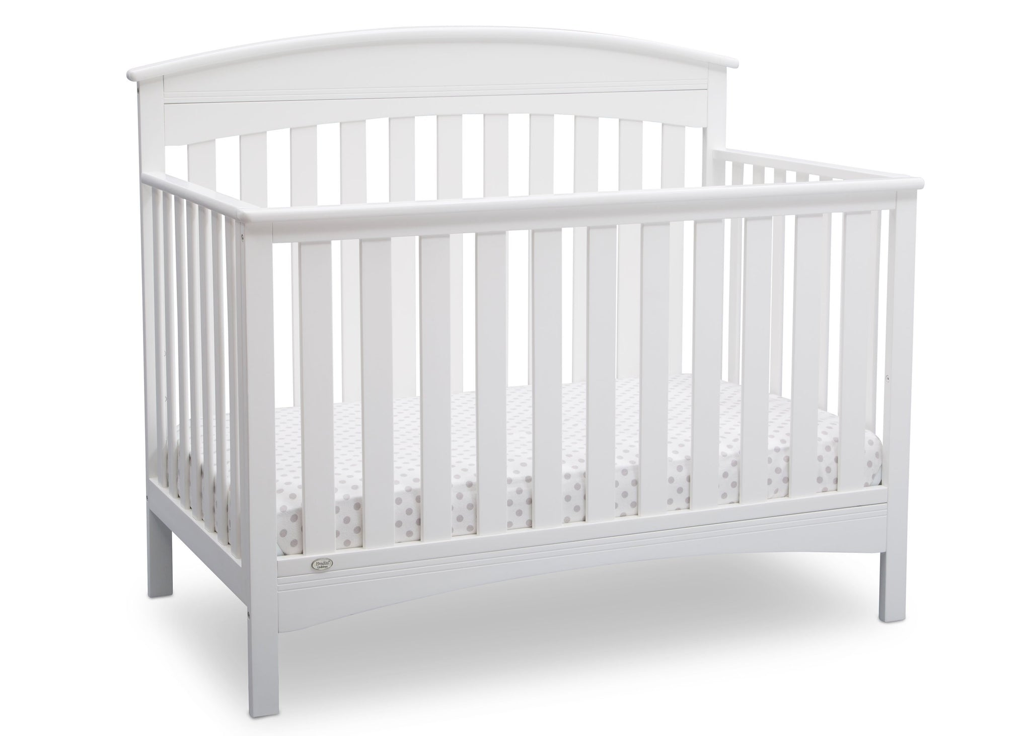 Delta Children Bianca (130) Bennington Elite Arched 4-in-1 Convertible Crib, Crib Angle, b3b
