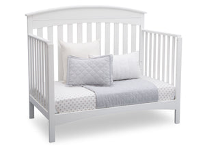 Delta Children Bianca (130) Bennington Elite Arched 4-in-1 Convertible Crib, Day Bed Angle, b5b