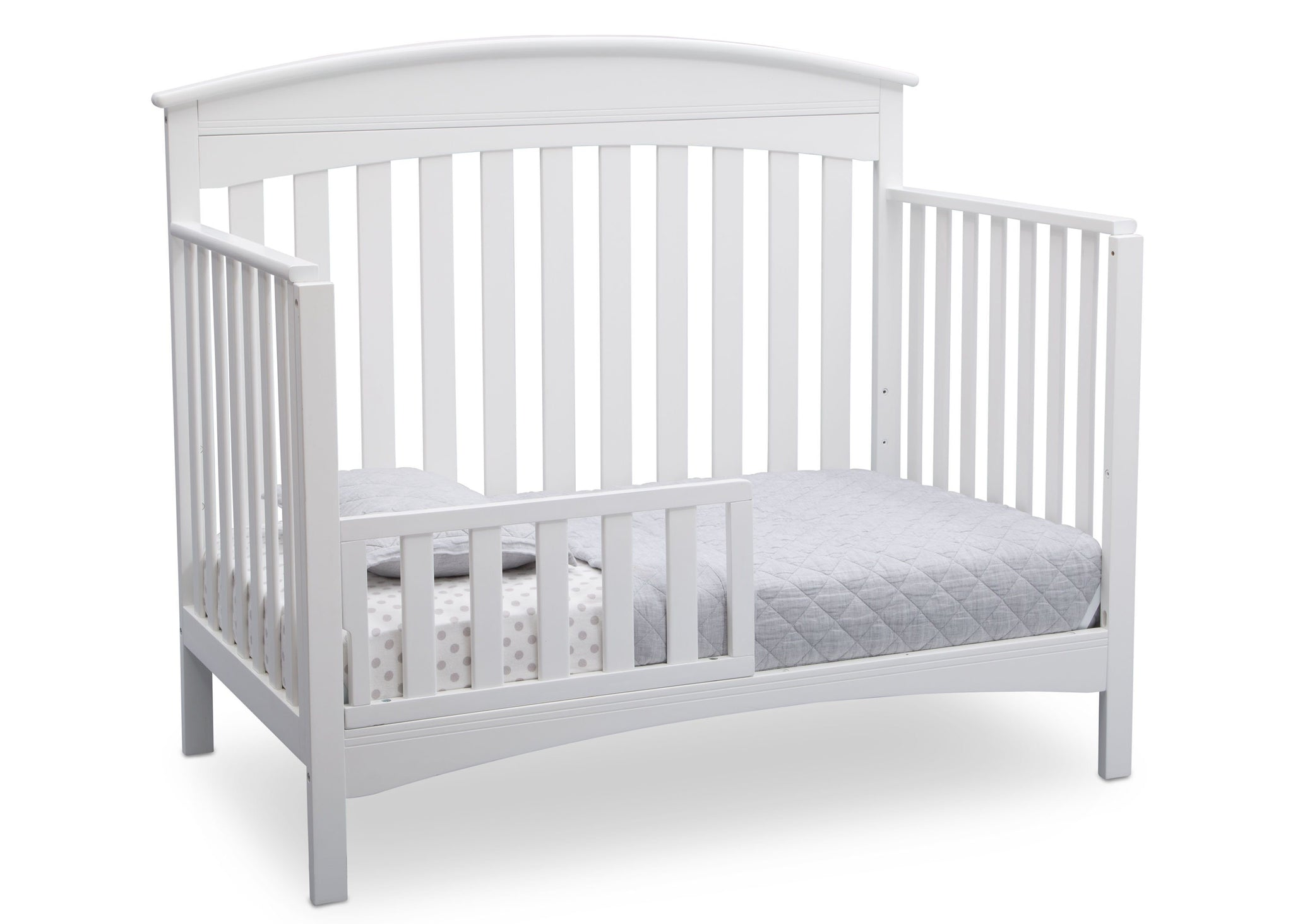 Delta Children Bianca (130) Bennington Elite Arched 4-in-1 Convertible Crib, Toddler Bed Angle, b4b