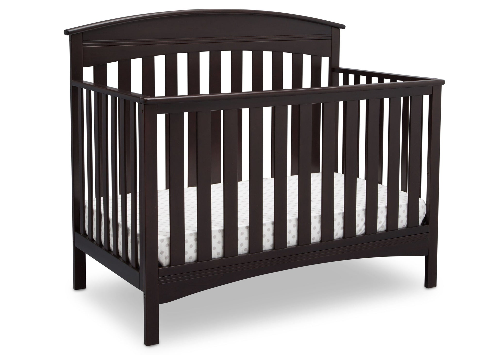 Delta Children Dark Espresso (958) Bennington Elite Arched 4-in-1 Convertible Crib, Crib Angle, c3c