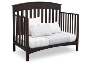 Delta Children Dark Espresso (958) Bennington Elite Arched 4-in-1 Convertible Crib, Day Bed Angle, c5c