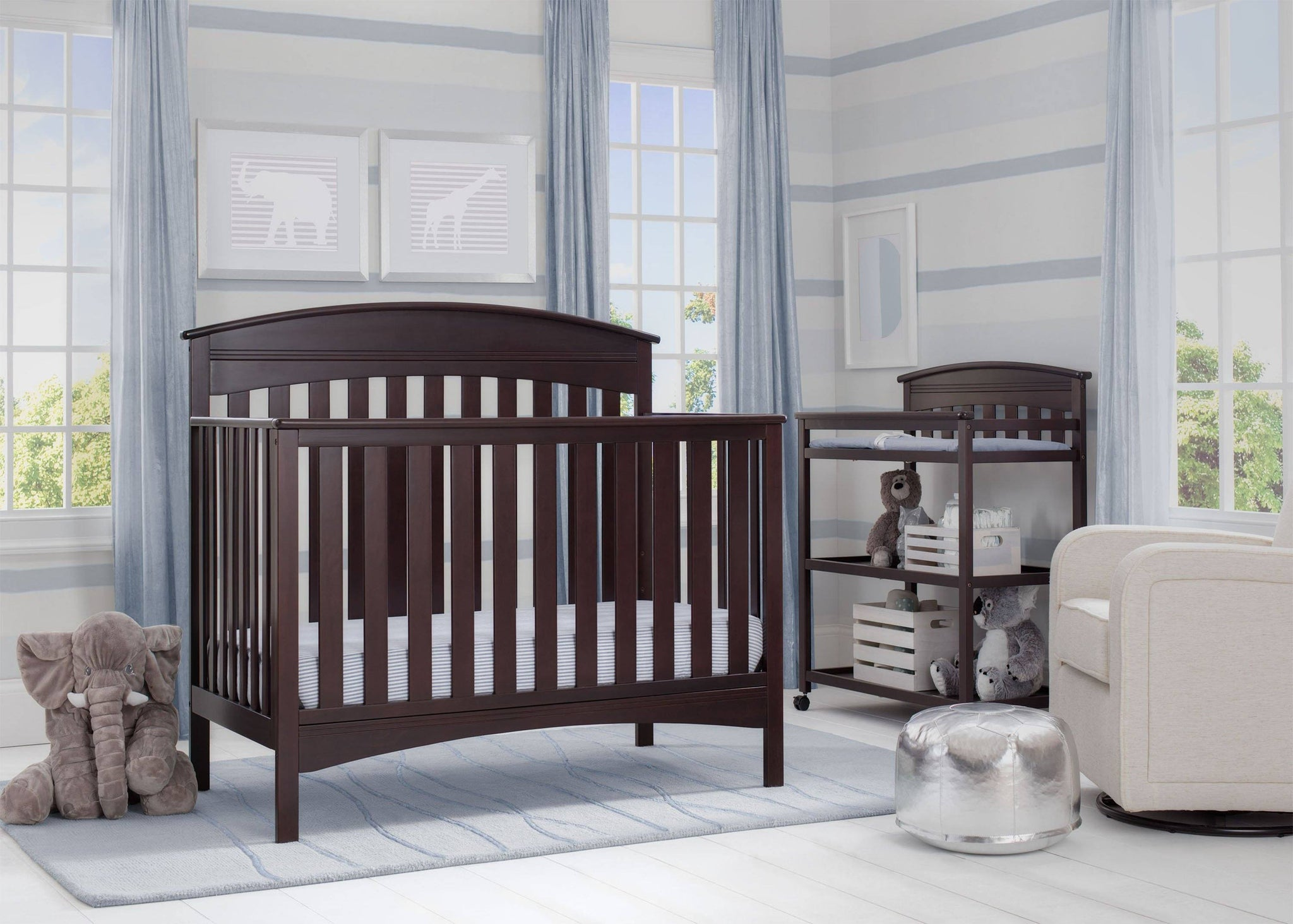 Delta Children Dark Espresso (958) Bennington Elite Arched 4-in-1 Convertible Crib, Room, c1c