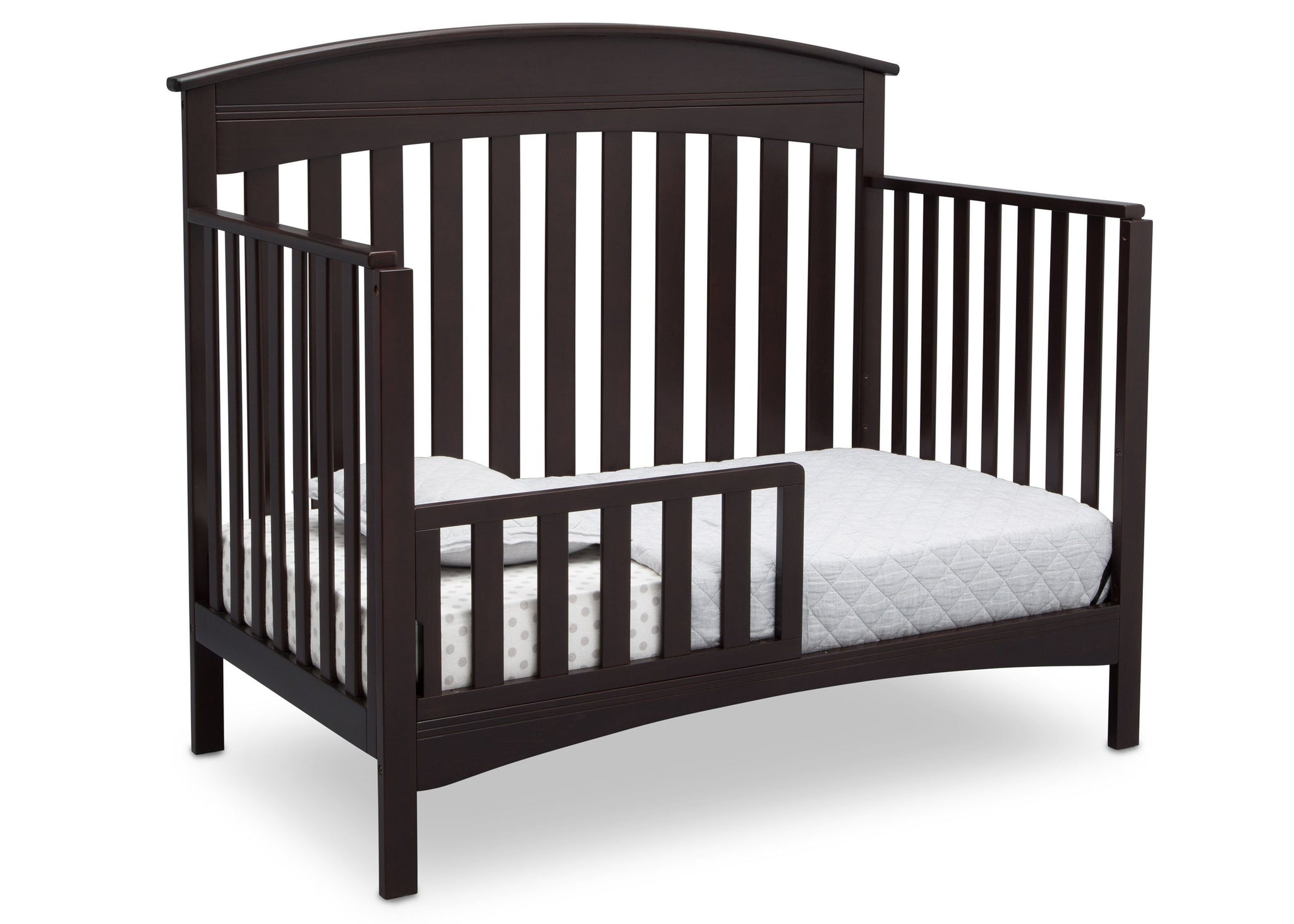 Delta Children Dark Espresso (958) Bennington Elite Arched 4-in-1 Convertible Crib, Toddler Bed Angle, c4c