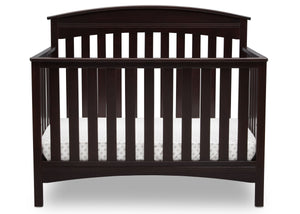 Delta Children Dark Espresso (958) Bennington Elite Arched 4-in-1 Convertible Crib, Crib Front, c2c