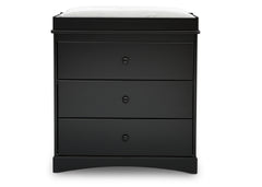 Delta Children Ebony (0011) Skylar 3 Drawer Dresser w Changing Top (558030), Front View, a2a