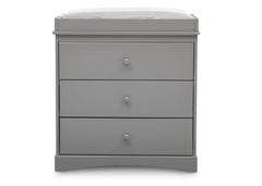 Delta Children Grey (026) Skylar 3 Drawer Dresser w Changing Top (558030), Front View, b2b