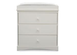 Delta Children Bianca White (130) Skylar 3 Drawer Dresser w Changing Top (558030), Front View, c2c