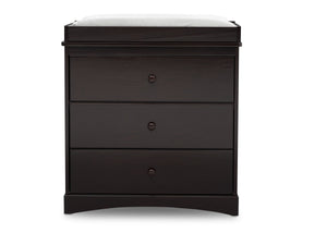 Delta Children Dark Chocolate (207) Skylar 3 Drawer Dresser w Changing Top (558030), Front View, d2d