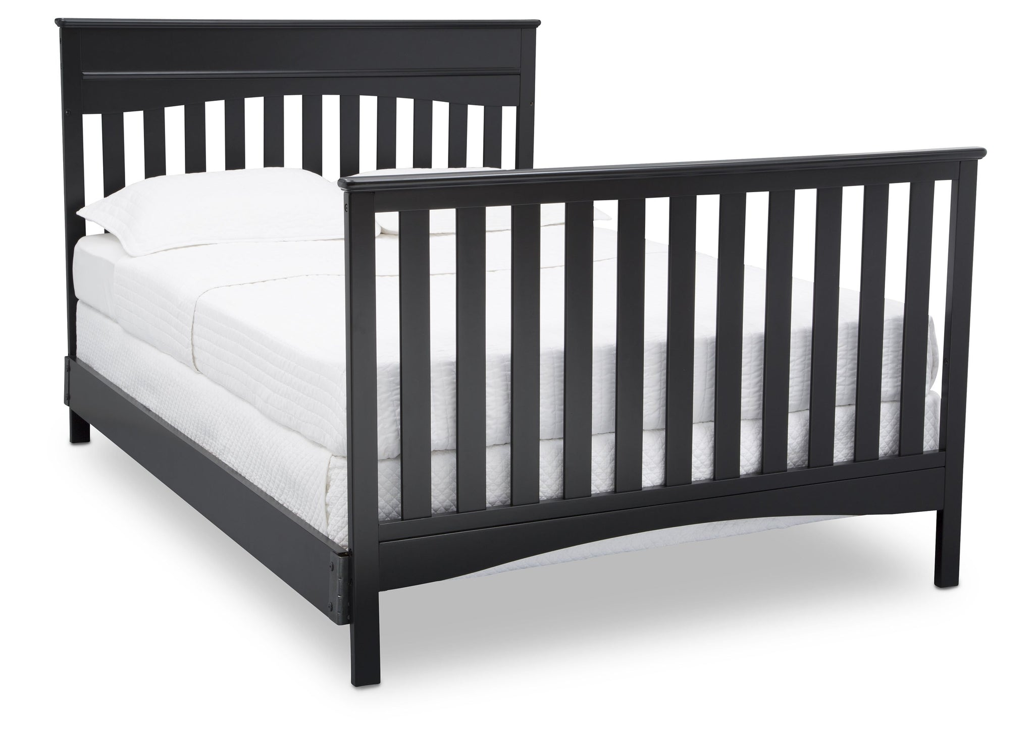 Delta Children Ebony (0011) Skylar 4-in-1 Convertible Crib (558150), Full Size Bed with Footboard, a6a