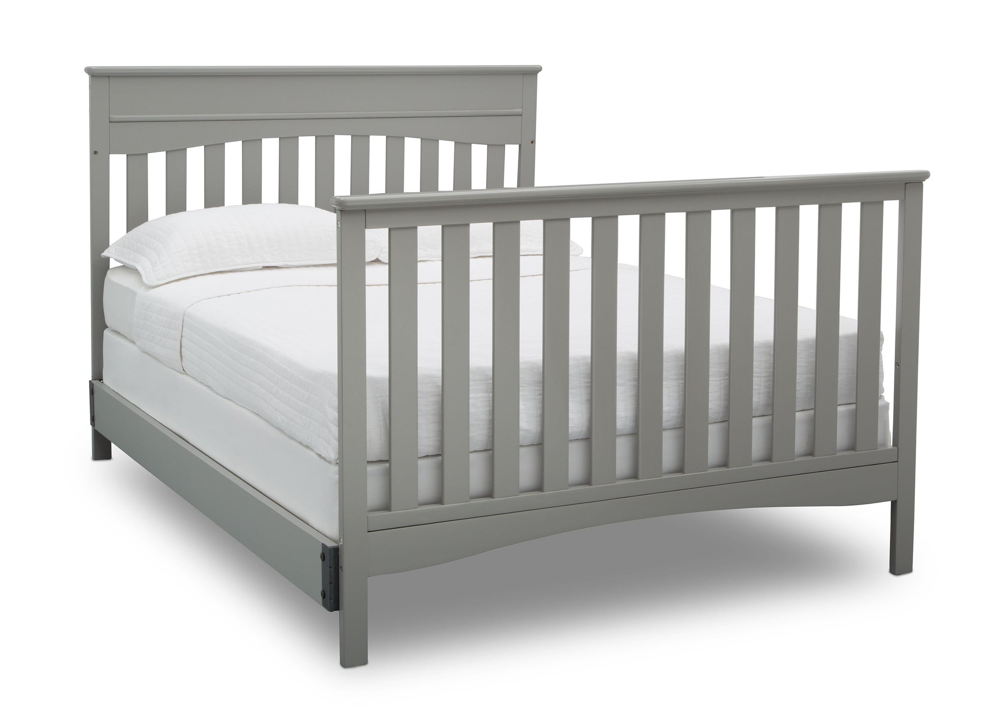 Delta Children Grey (026) Skylar 4-in-1 Convertible Crib (558150), Full Size Bed with Footboard, b5b
