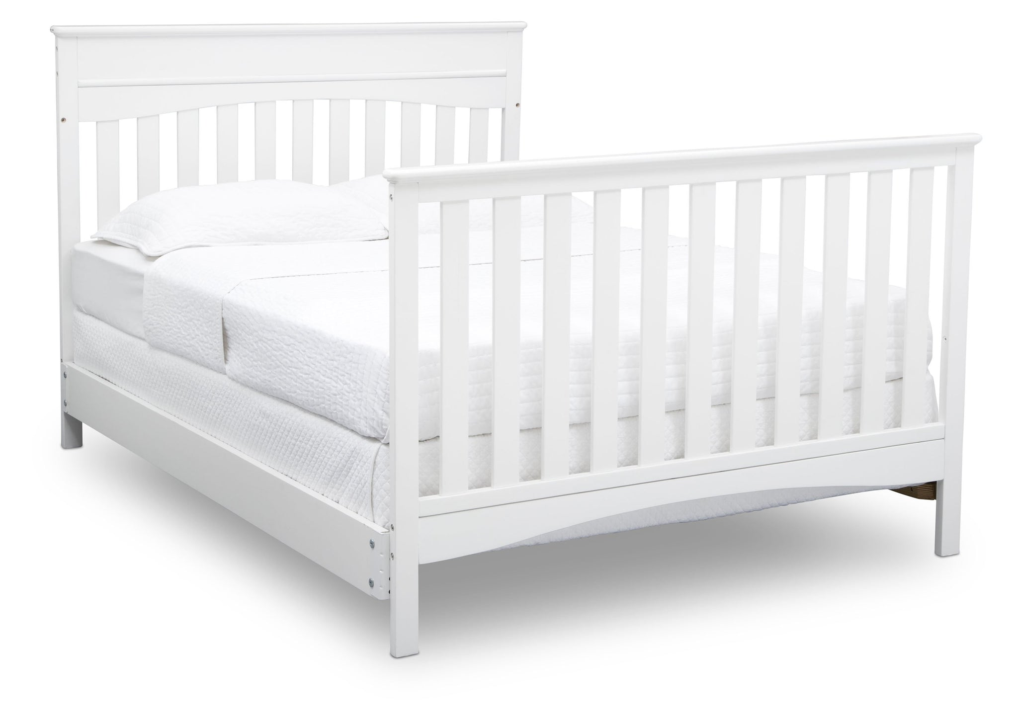 Delta Children Bianca White (130) Skylar 4-in-1 Convertible Crib (558150), Full Size Bed with Footboard, c5c
