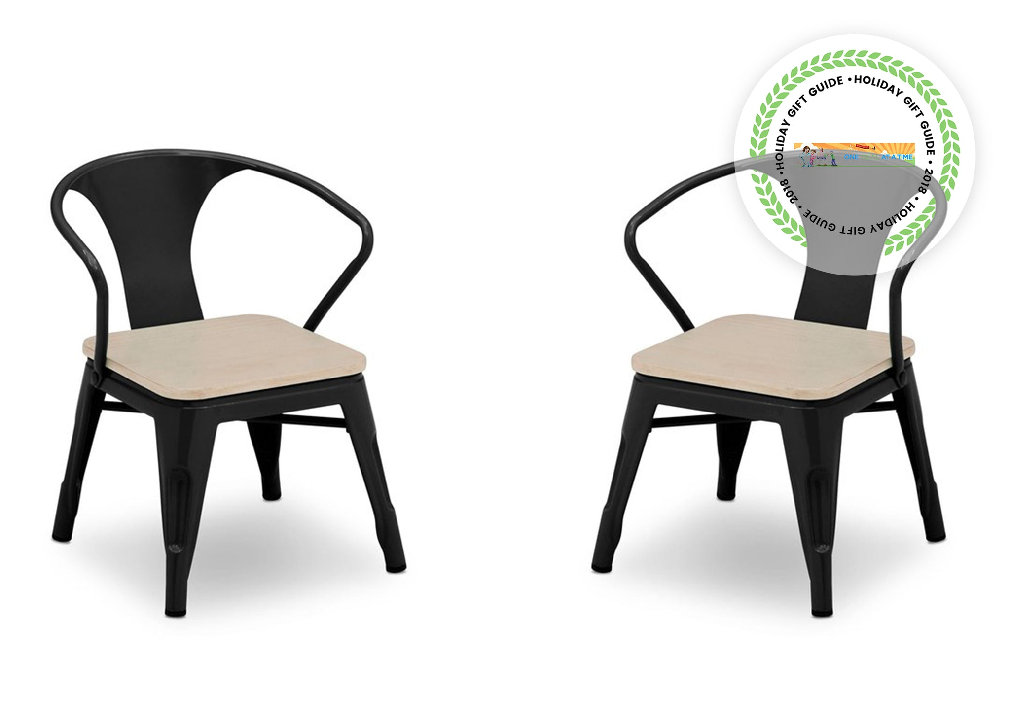 Delta Children Black with Driftwood (1312) Bistro 2-Piece Chair Set (560301), Chairs Silo a3a