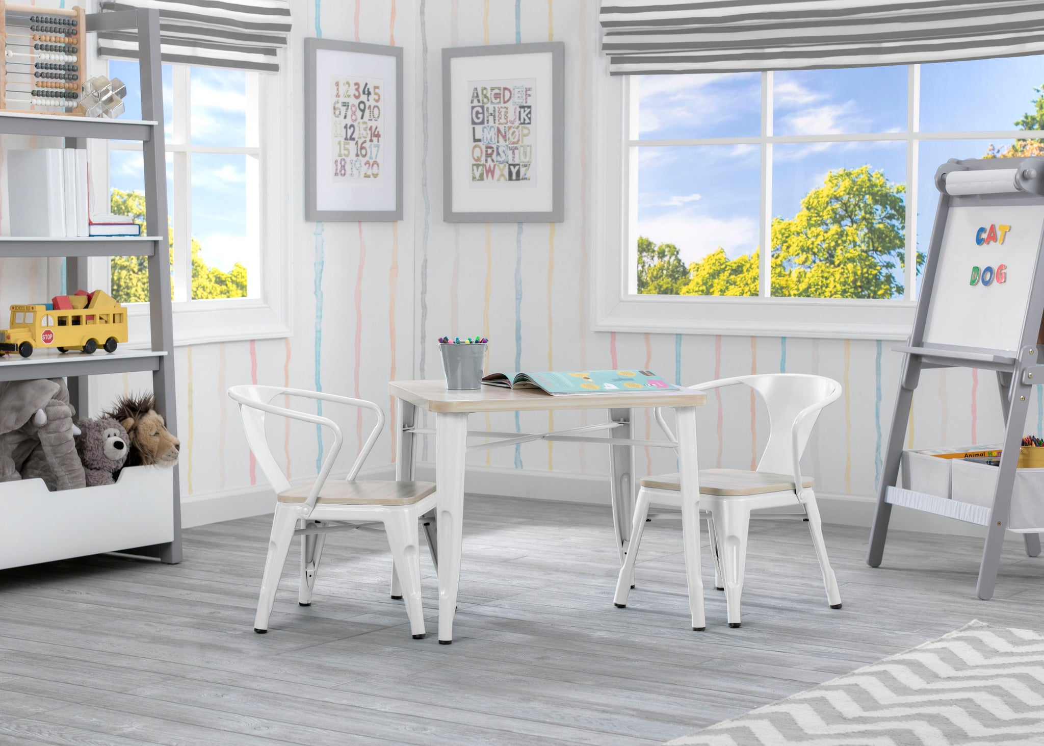 Delta Children White with Driftwood (1313) Bistro 2-Piece Chair Set (560301), Table and Chair b2b