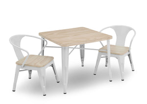 Delta Children White with Driftwood (1313) Bistro Kids Play Table (560302), Table and Chair Right Silo, b4b