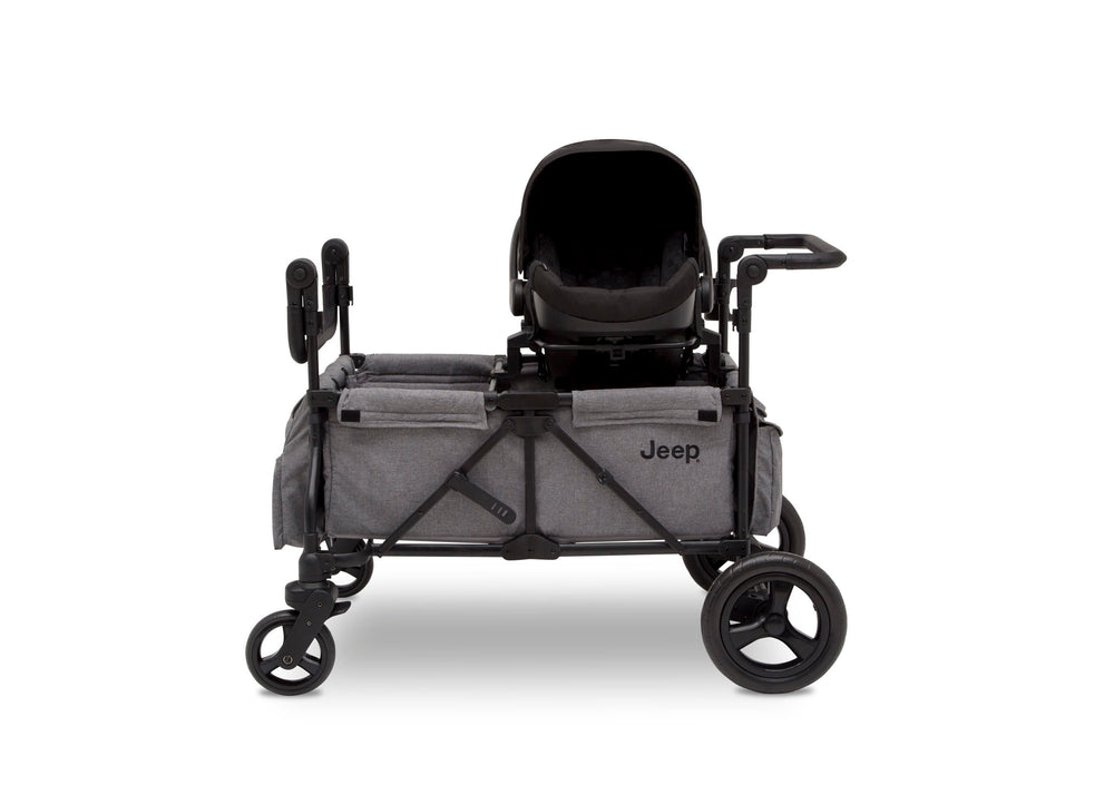 Jeep Wrangler Stroller Wagon Grey (2148), Side Silo View with Canopy Down