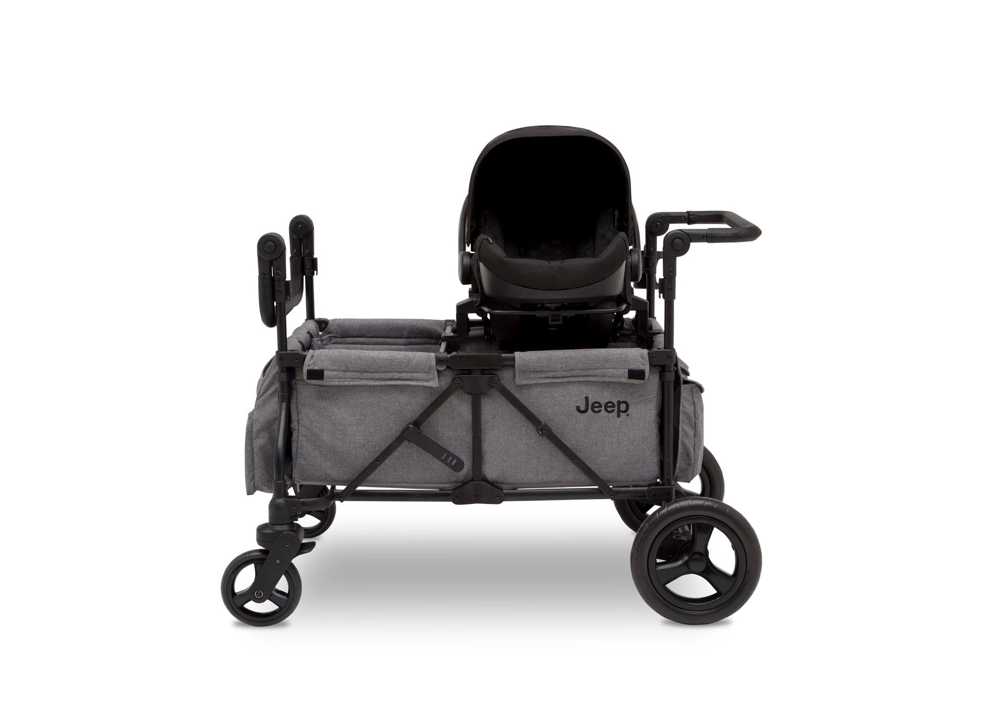 Jeep Wrangler Stroller Wagon by Delta Children, Grey (2148), Attach your current infant car seat