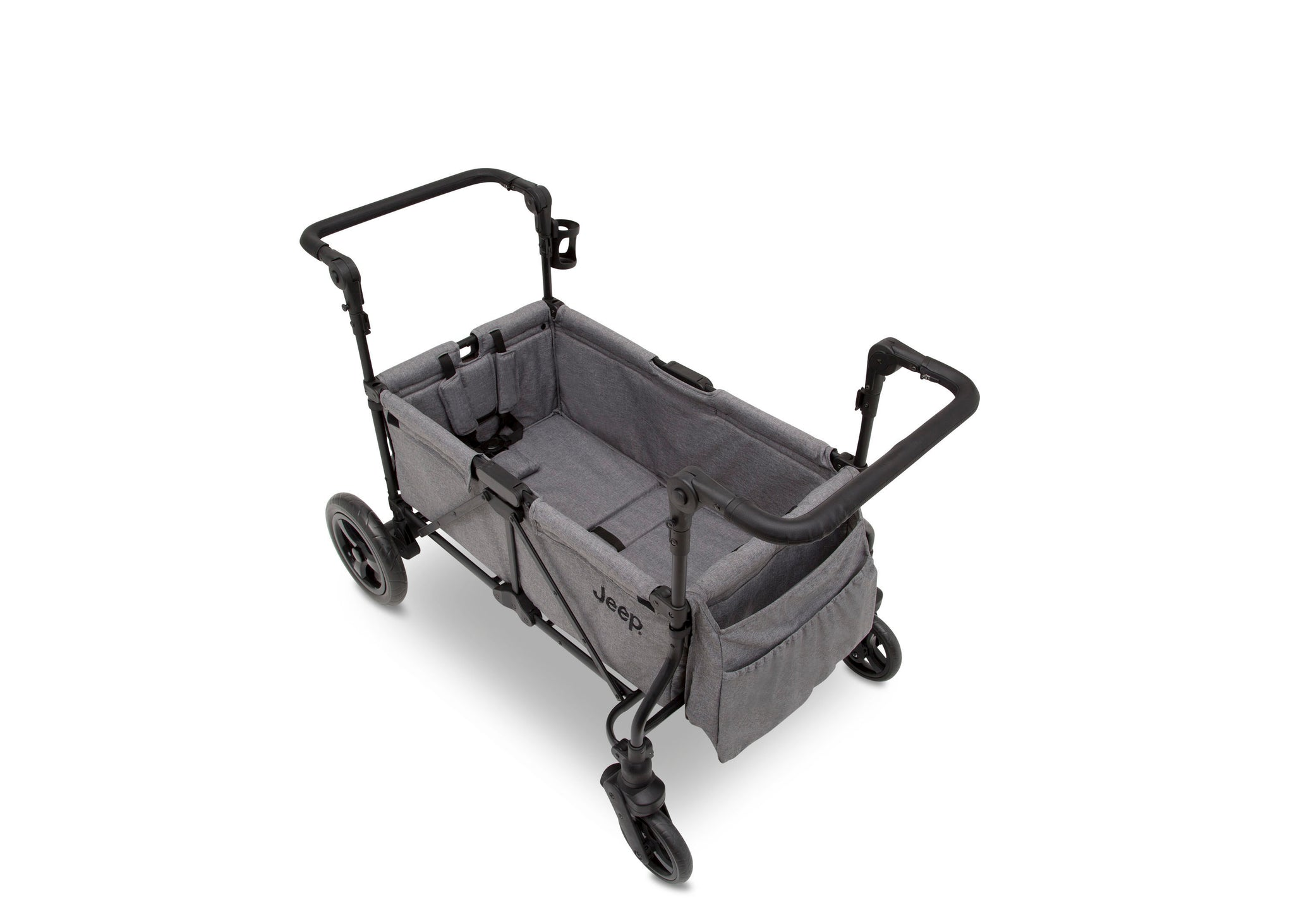 Jeep Wrangler Stroller Wagon by Delta Children, Grey (2148), Durable frame holds up to 110 pounds