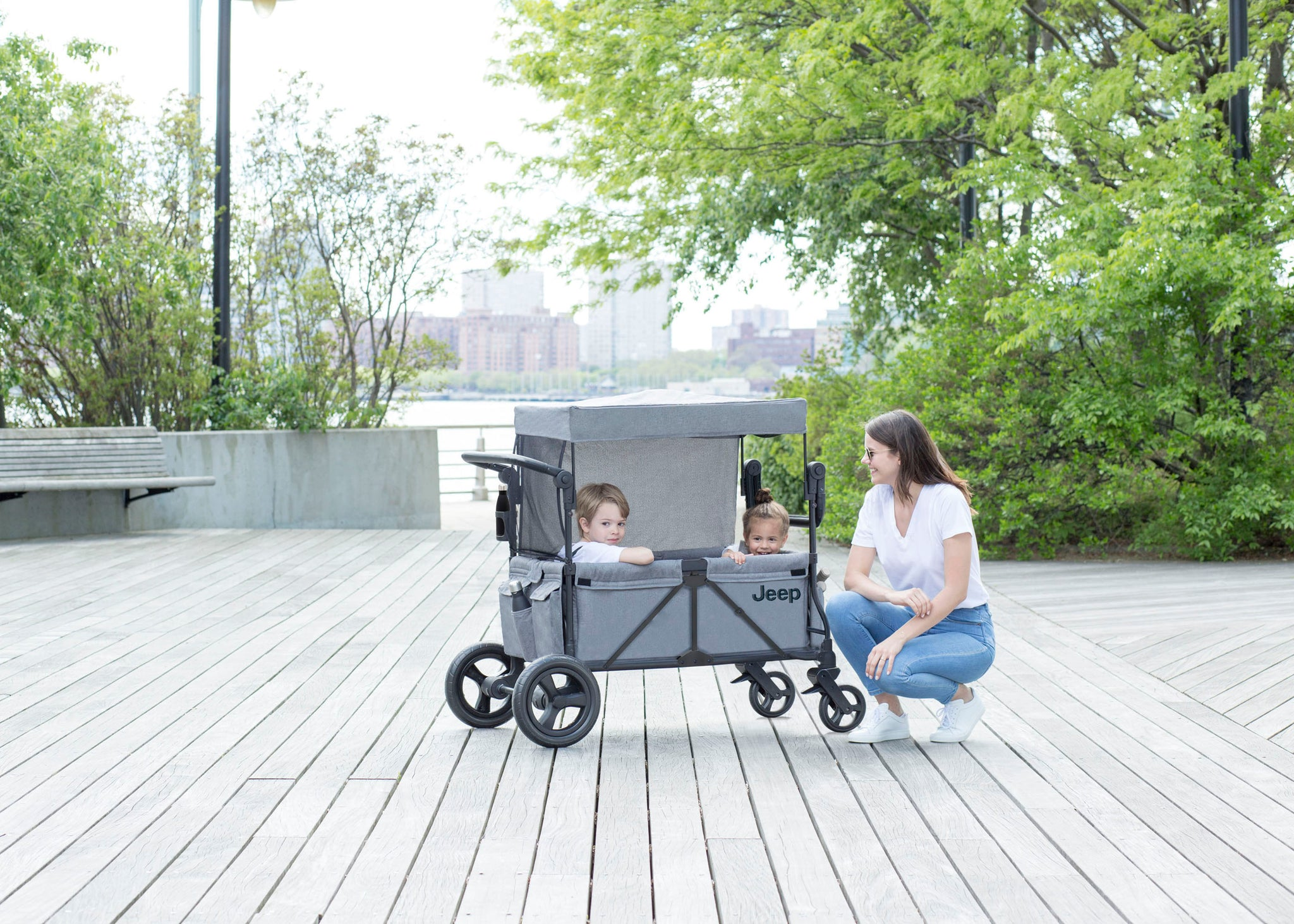 Jeep Wrangler Stroller Wagon Grey (2148), Lifestyle View 3