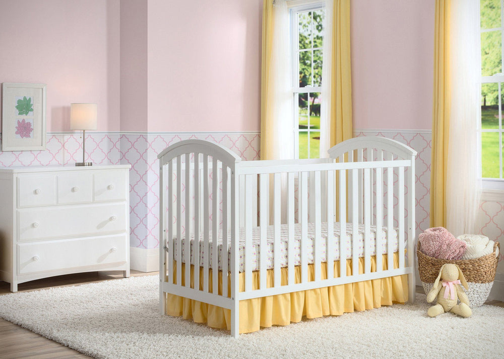 Delta Children White (100) Arbour 3-in-1 Crib, Room View a1a
