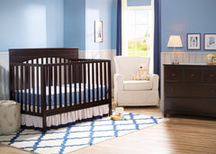 Delta Children Dark Chocolate (207) Layla 4-in-1 Crib, Nursery View c1c
