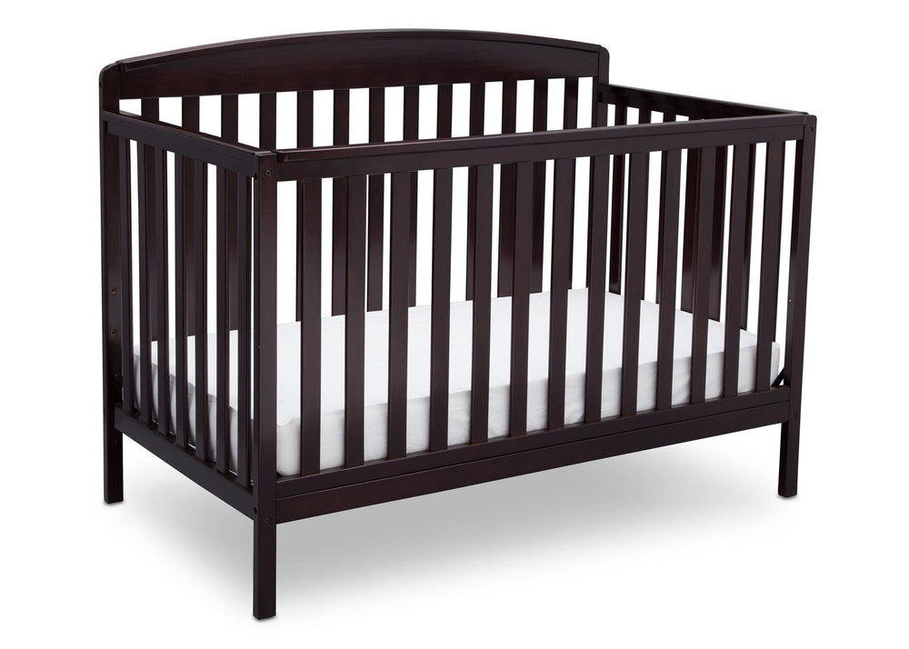 Delta Children Dark Chocolate (207) Brayden 4-in-1 Crib, Angled Crib View c3c
