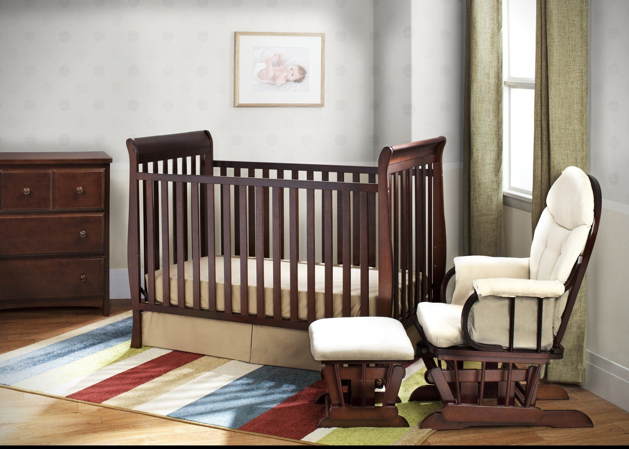 Delta Children Black Cherry Espresso (607) Winter Park 3-in-1 Crib, Nursery View c1c