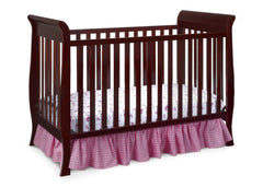 Delta Children Espresso Cherry (205) Charleston/Glenwood 3-in-1 Crib Side View, Crib Conversion b3b