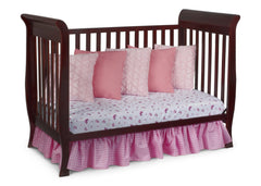 Delta Children Espresso Cherry (205) Charleston/Glenwood 3-in-1 Crib Side View, Day Bed Conversion b5b