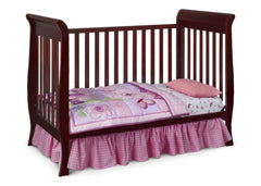 Delta Children Espresso Cherry (205) Charleston/Glenwood 3-in-1 Crib Side View, Toddler Bed Conversion b4b