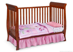 Delta Children Spiced Cinnamon (209) Charleston/Glenwood 3-in-1 Crib Side View, Toddler Bed Conversion c3c