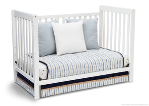Delta Children White Ambiance (108) Waves 3-in-1-Crib Side View, Day Bed Conversion d4d
