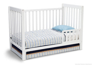 Delta Children White Ambiance (108) Waves 3-in-1-Crib Side View, Toddle Bed Conversion d3d