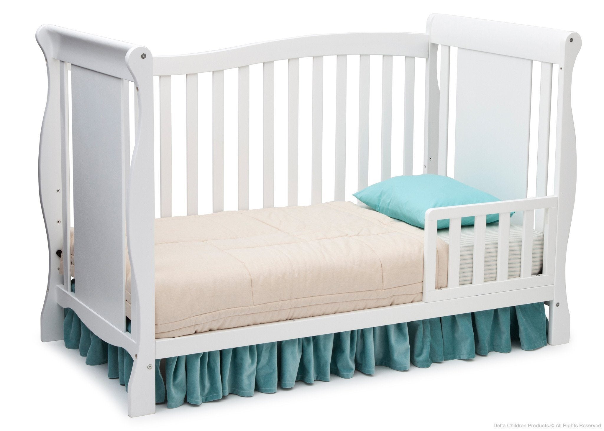 Delta Children White (100) Brookside 4-in-1 Crib, Toddler Bed Conversion a3a