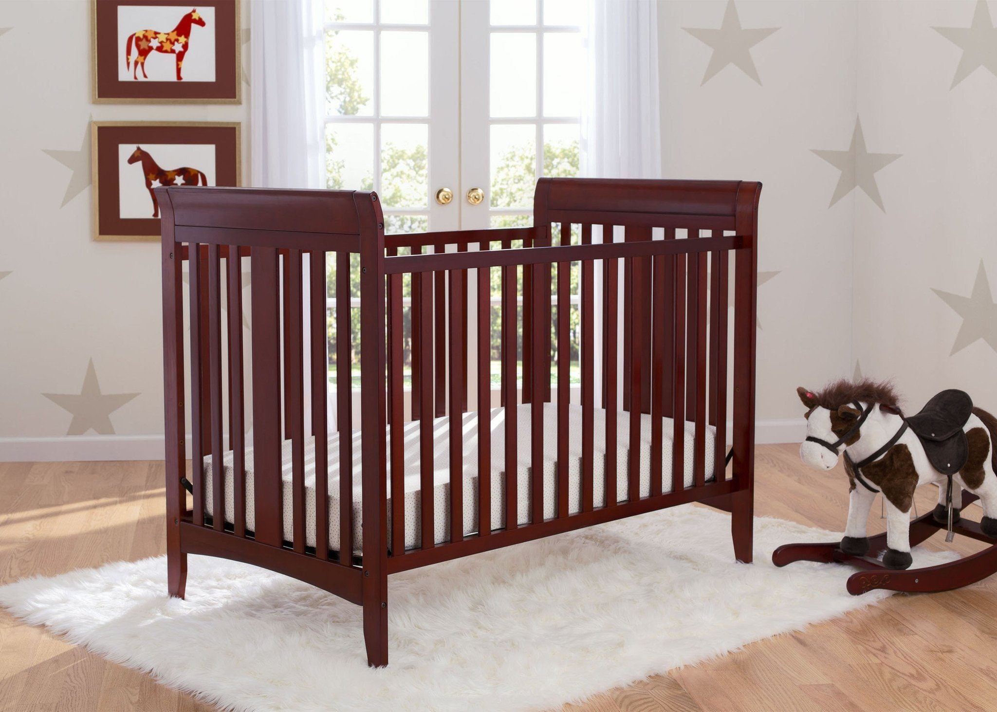 Delta Children Cabernet (648) Parkside 3-in-1-Crib, room shot c0c