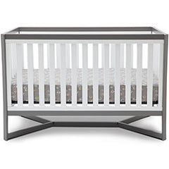 Delta Children White / Grey (027) Tribeca 4-in-1 Crib Front View, Crib Conversion a1a