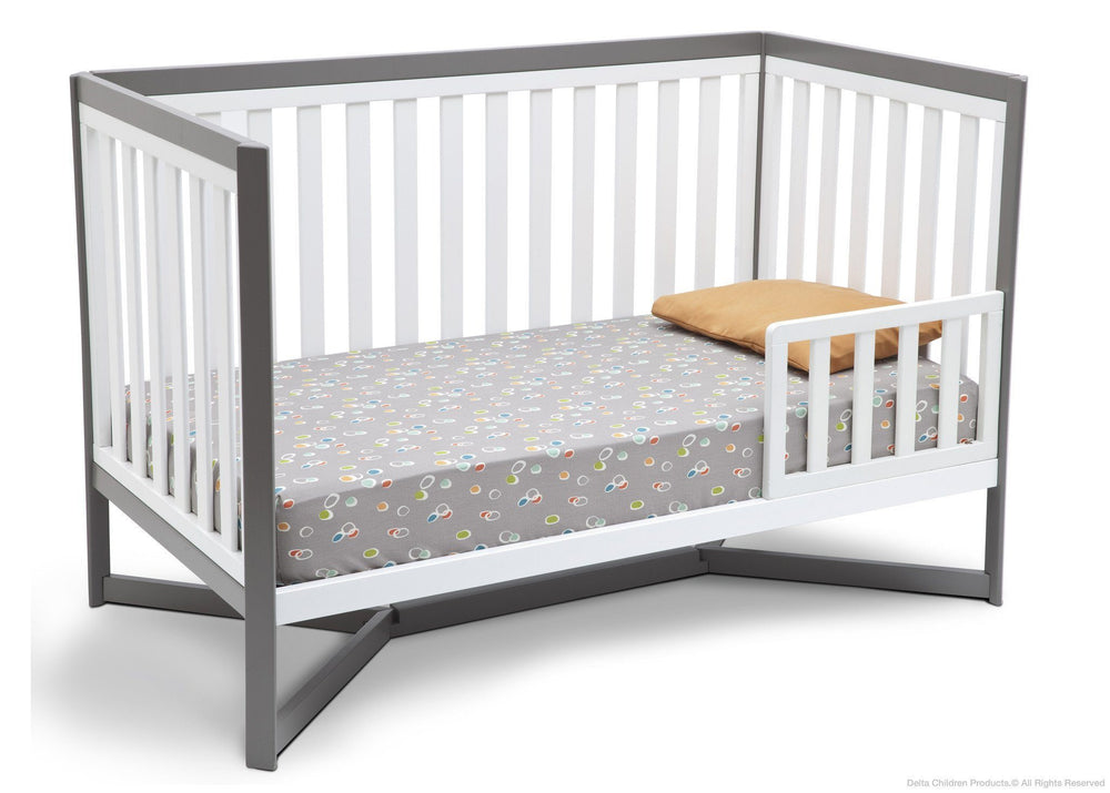 Delta Children White / Grey (027) Tribeca 4-in-1 Crib Side View, Toddler Bed Conversion a3a