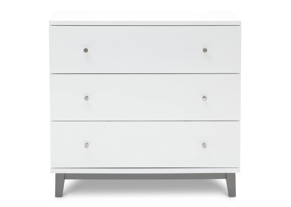 Delta Children White / Grey (027) Tribeca Three-Drawer Dresser Front View a1a