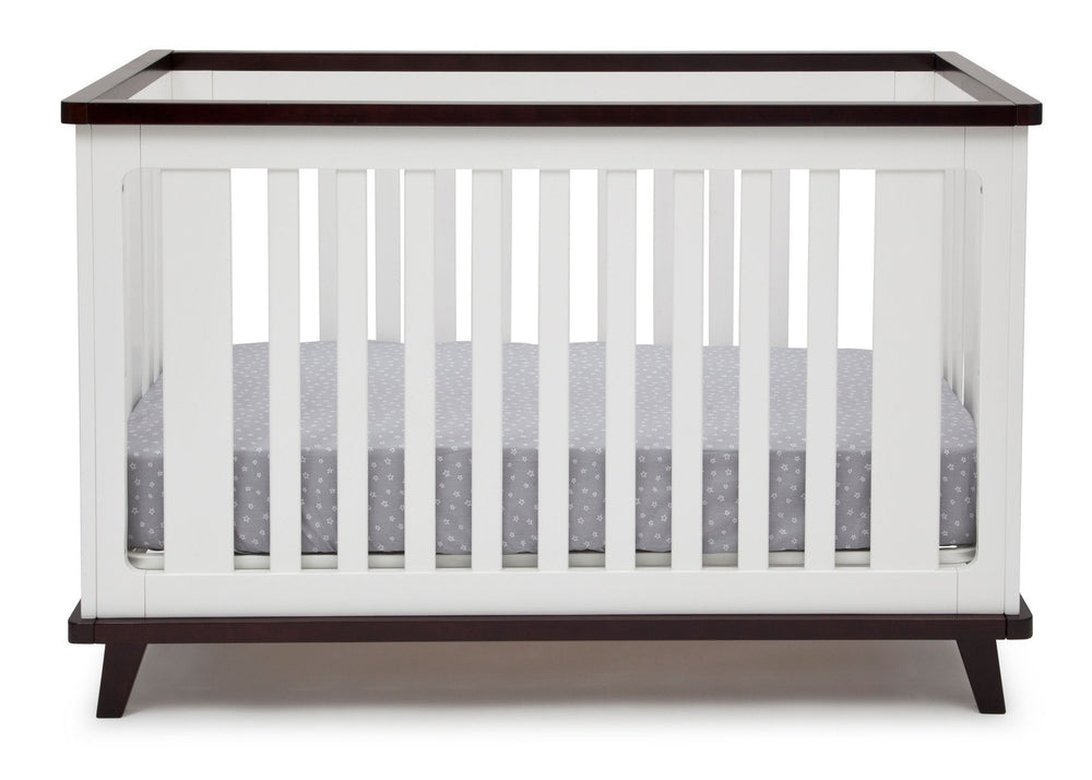 Delta Children White with Black Espresso (141) Ava 3-in-1 Crib b3b