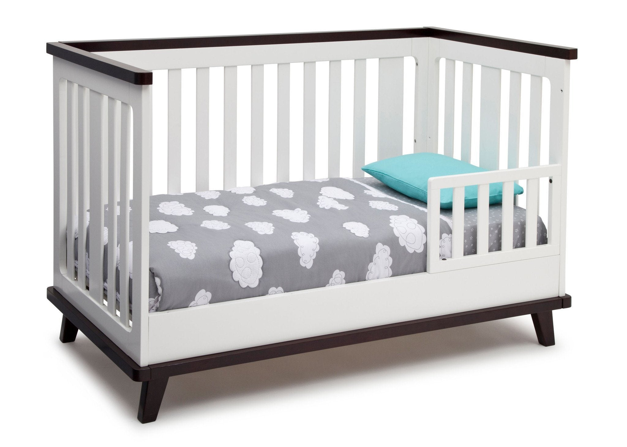 Delta Children White with Black Espresso (141) Ava 3-in-1 Crib Toddler Bed Conversion b5b